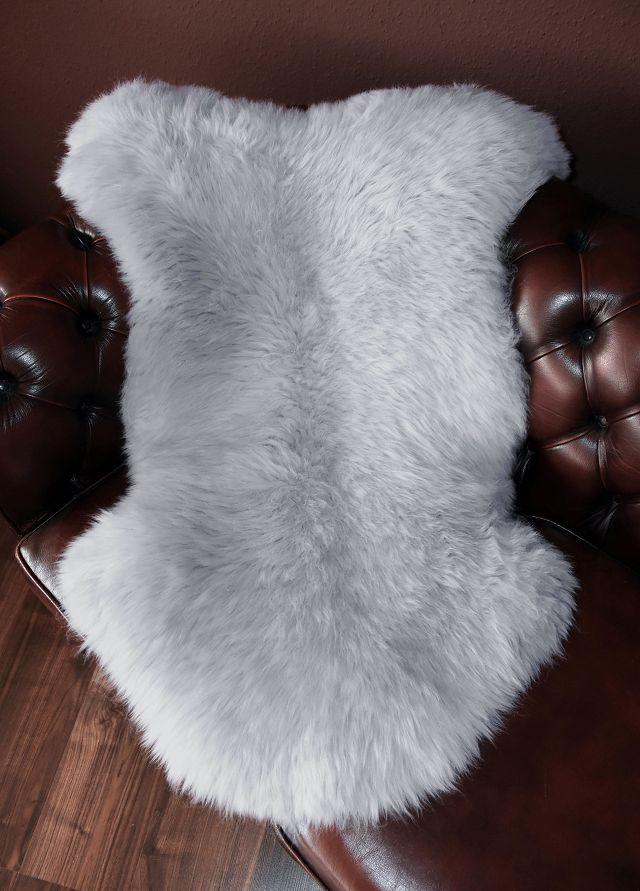 Schaffell Lammfell Fell Lambskin ökologisch gegerbt  silber grau  90-100cm